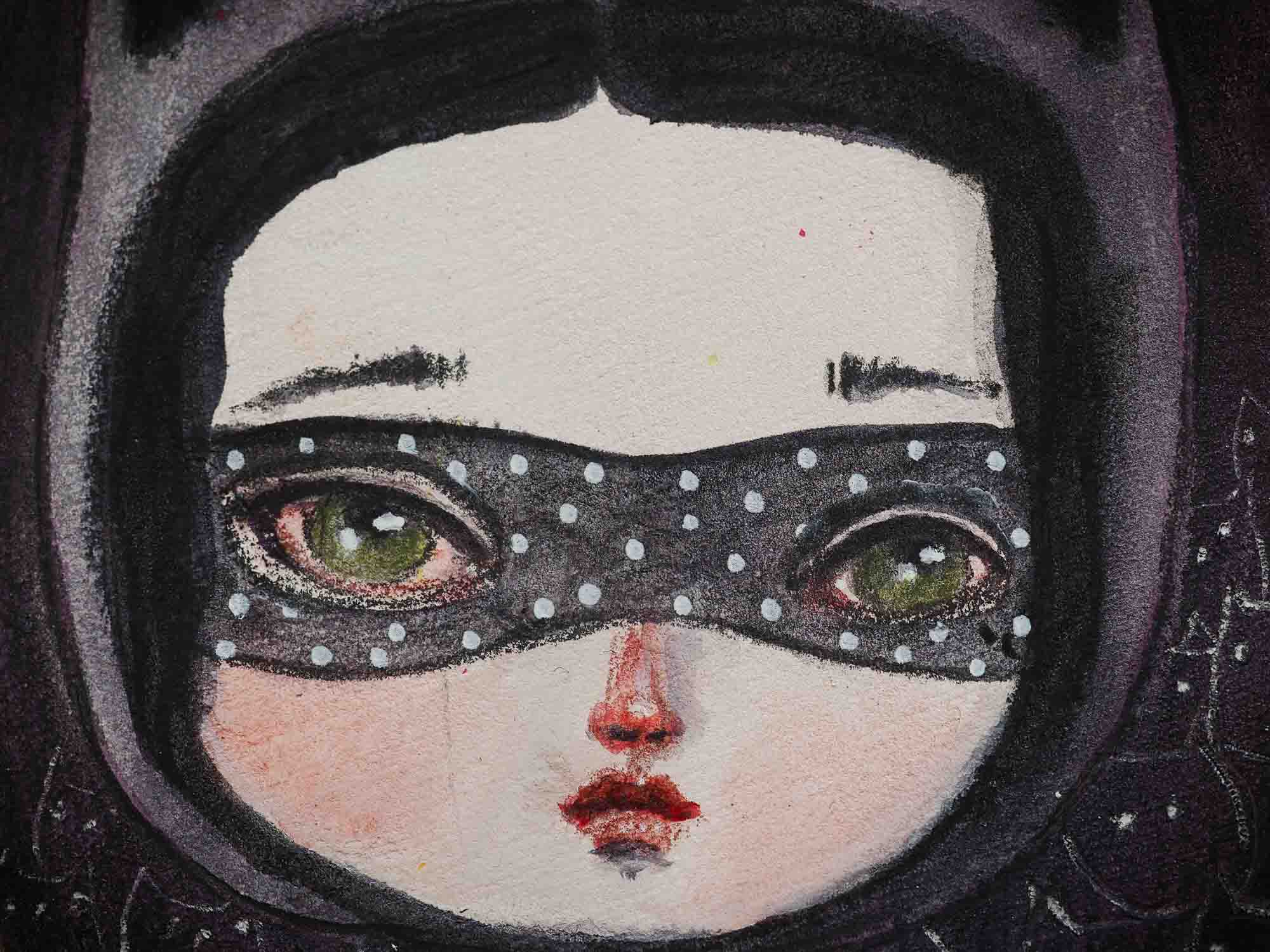 When I think of Cat Lady, I imagine a powerful woman with an army of cats at her disposal, so I painted this little girl in an oval wood canvas. I used watercolors to create an army of black cats with a mysterious ambiance where the cats are lookin right back at you, lurking in the shadows waiting to do her bidding.