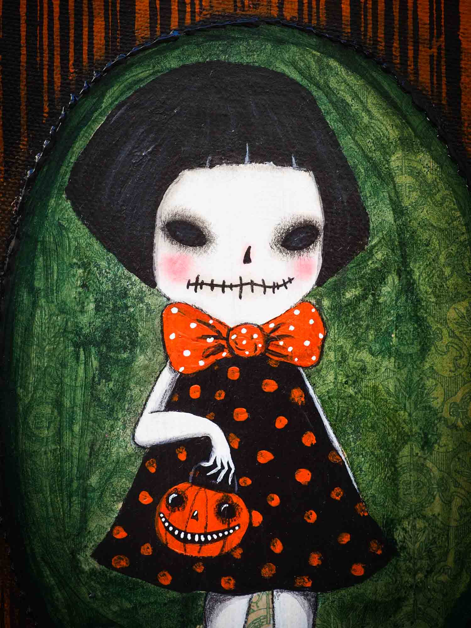This whimsical zombie girl is an original Halloween painting by Danita Art. She is getting ready to go out trick-or-treat with her friends the wolves, the vampires, the witches, the ghouls and the ghosts.  Painted on canvas, even when she is a pale skinned zombie girl, she keeps the whimsical Danita eyes that you love so much.