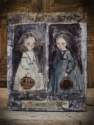 This is an original Halloween painting by Danita. Hallow and Ween are twin sisters apart as day and night. Born on October 31, one has dar hair, the other blonde. One dresses in white, the other in black. But they love each other. Painted using mixed media collage techniques, combining ink, acrylic paint, watercolor, gouache and more. This beautiful painting will be the center of your home decoration this Halloween Night.