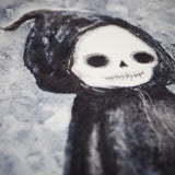 The grim reaper looks cute and friendly on this original watercolor Halloween illustration by Danita Art