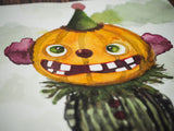 Silly Halloween decoration watercolor original illustration painting art by Danita pumpkin jack-o-lantern