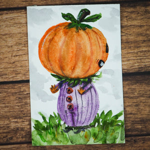 Danita original watercolor Mini Painting ACEO Pumpkin Halloween jack-o-lantern illustration