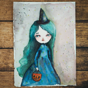BLUE HAIRED WITCH, Original Art by Danita Art
