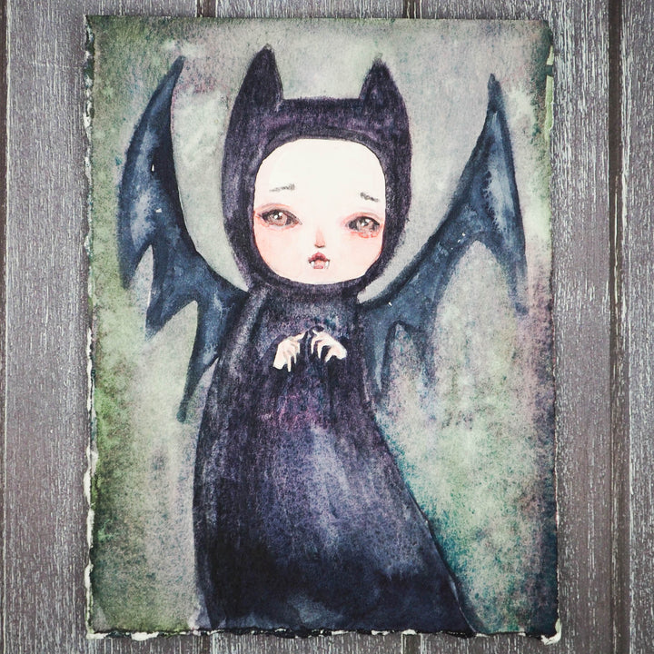 Vampire Bat vamp Danita Watercolor Halloween Monster Creature Painting Original Illustration