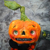 Halloween Danita Art Doll Handmade Figure Upcycled Recycled Toy jack-o-lantern pumpkin original