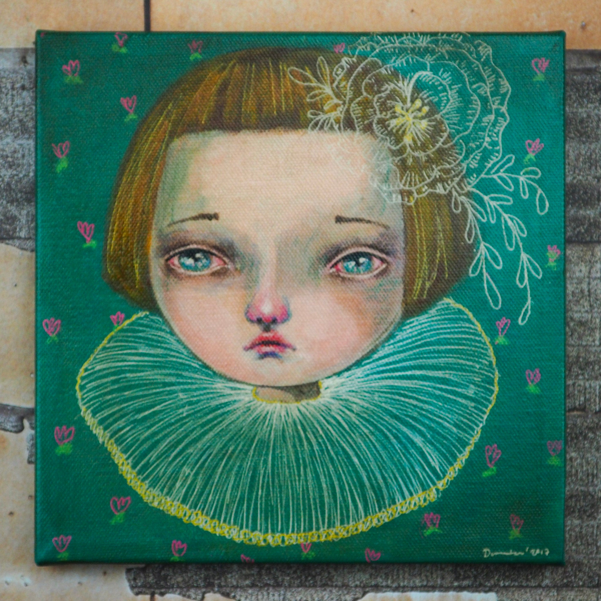 Original mixed media painting artwork by Danita. Surreal pop mixed with folk art green eyed girl on teal background portrait. Great home decor with a vintage shabby, worn out and whimsical folk art look.
