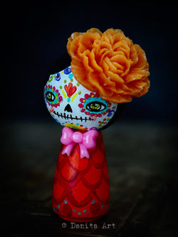 Catrina In Orange, Art Doll by Danita Art