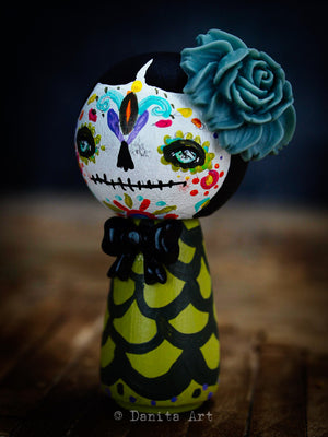 Catrina In Green, Miniature Dolls by Danita Art