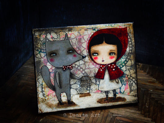 An incredible mixed media original creation by Danita Art, inspired by the story of Little Red Riding Hood