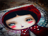 Little red riding hood has beautiful eyes on this amazing mixed media collage painting by Danita Art
