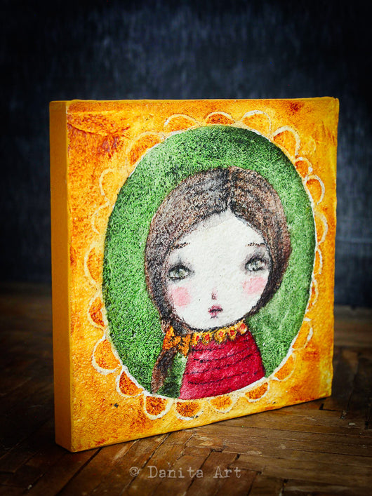 An experimental watercolor on wood portrait created by Danita Art