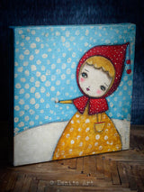 This original painting by Danita Art features a mixed media female portrait in the fresh snow falling.