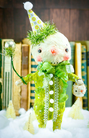 GREEN SNOWMAN, Art Doll by Danita Art