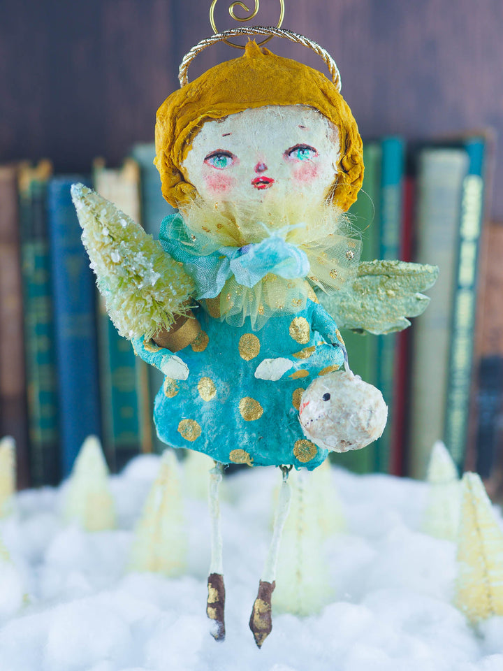 Christmas tree angel topper. Place it on top of your tree and make Holiday family memories with handmade ornament by Danita. spun cotton, high quality hand crafted art.