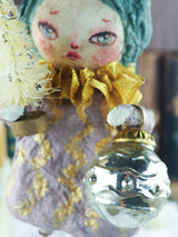 Christmas tree angel topper. On top of your tree and make Holiday family memories with handmade ornament art doll by Danita. spun cotton, handmade folk art toy