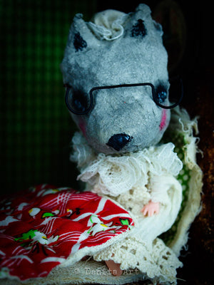 A wolf on grandma's skin, Art Doll by Danita Art