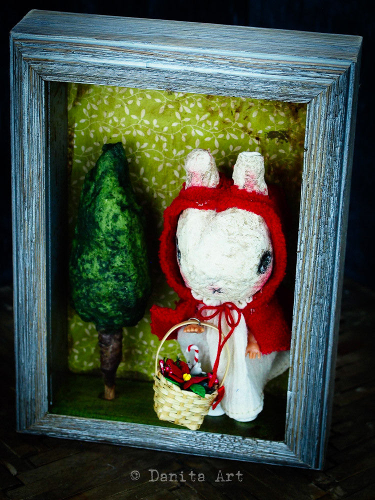 Little Red Bunny Hood, Art Doll by Danita Art