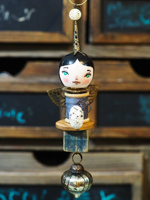 ANGEL No. 2 - An original handmade Christmas tree ornament by Danita, Miniature Dolls by Danita Art