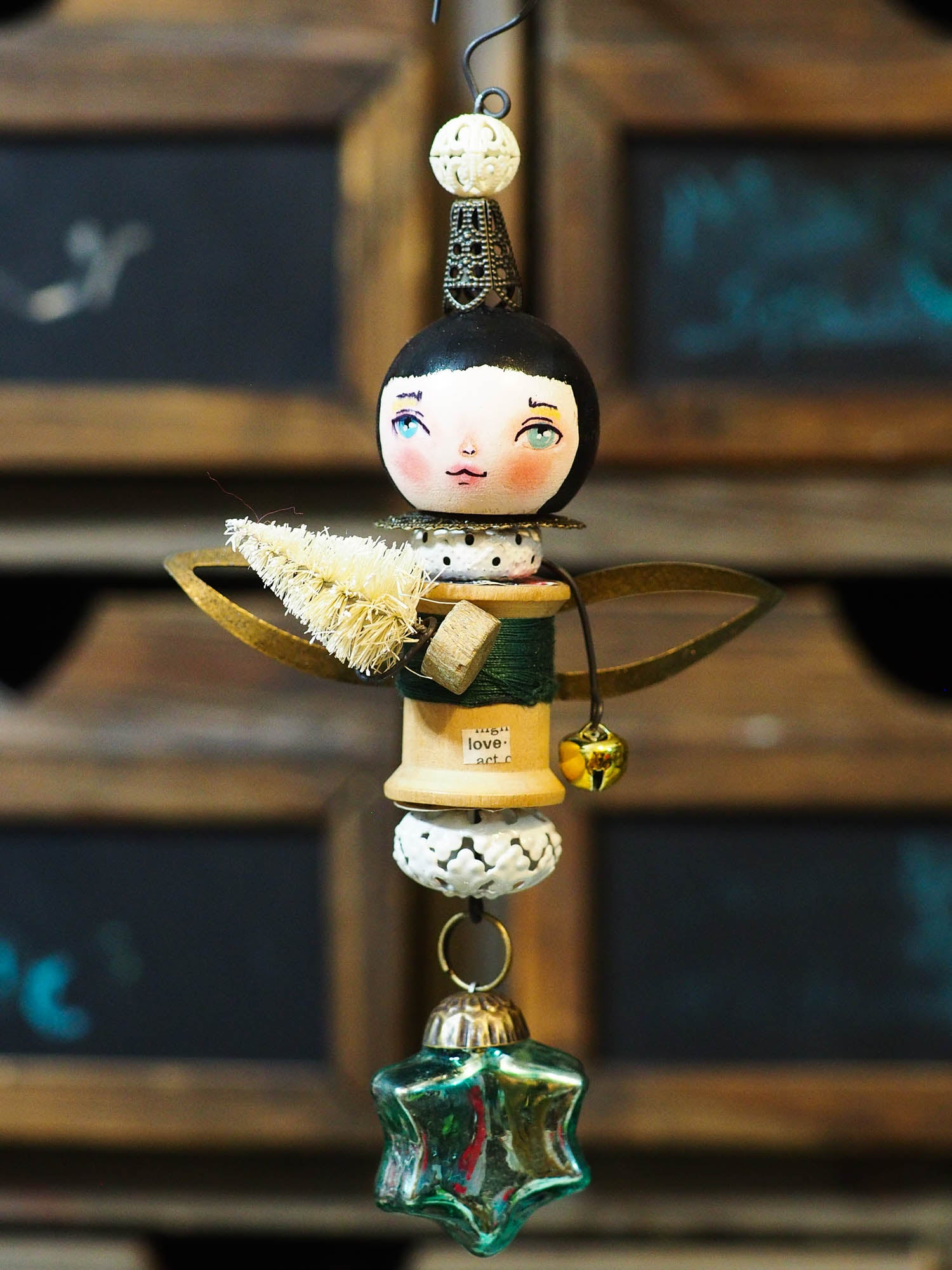ANGEL No. 4 - An original handmade Christmas tree ornament by Danita, Original Art by Danita Art