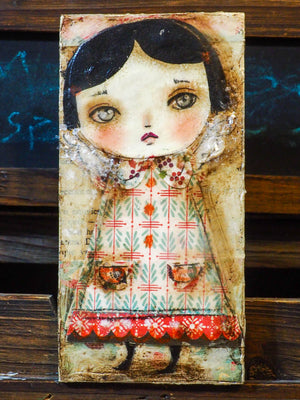 Original mixed media collage Holiday decoration by Danita Art. A beautiful Chritmas tree angel ready to hang as a beautiful addition to your collection of whimsical and surreal original art by Danita.