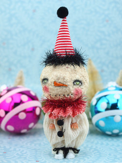 Adorable snowmen created using upcycled plastic dolls with custom made paper clay heads and hand made clothes, made with lots of love by Danita Art.