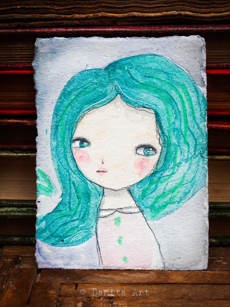 Ariel, an Original Watercolor ACEO Card Study, Original Art by Danita Art
