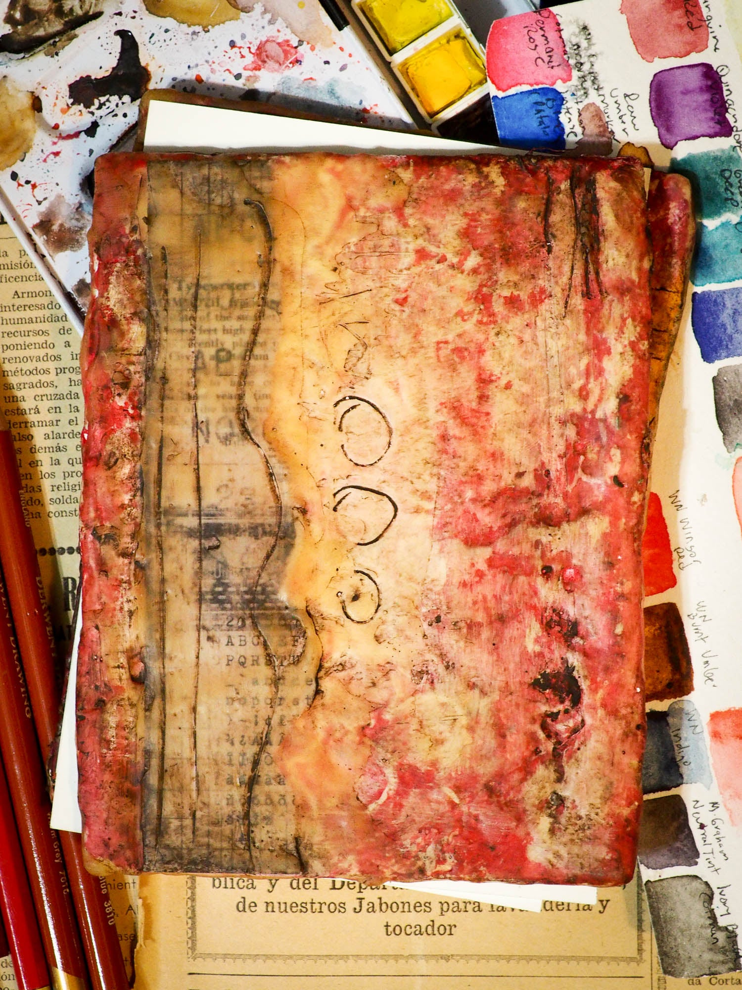 Original beeswax art journal by Danita Art