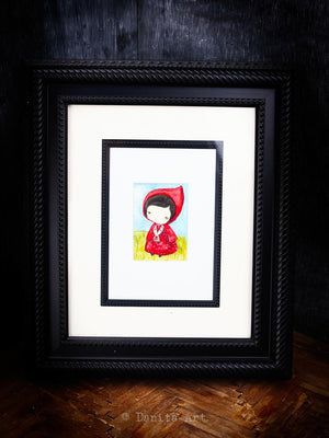 Little Red Riding Hood, an Original Watercolor ACEO Card Study, Original Art by Danita Art