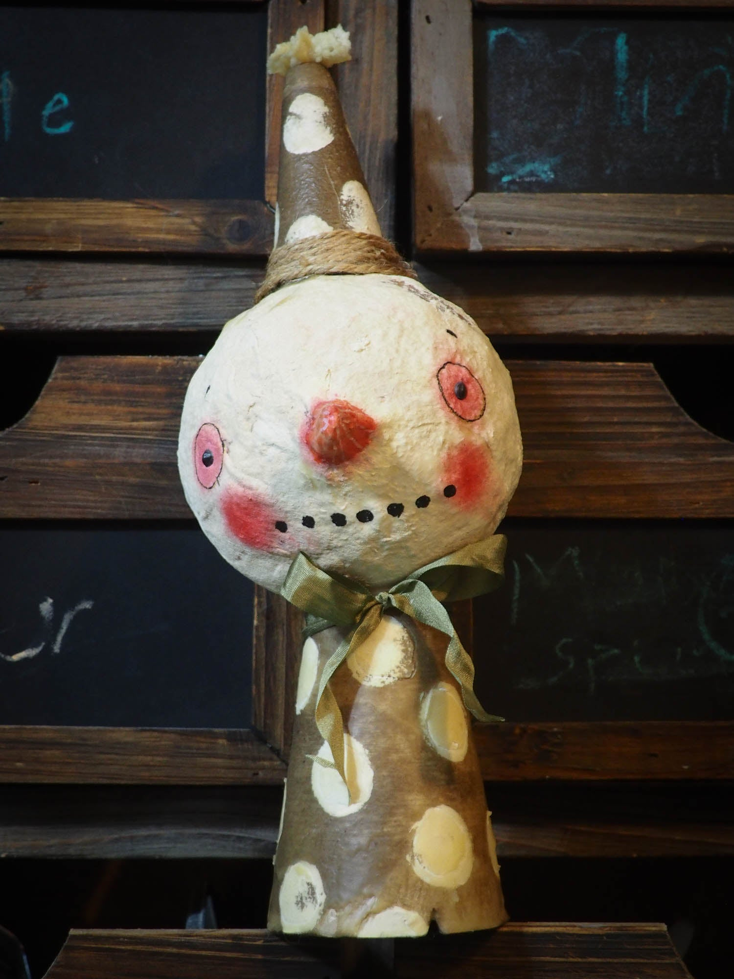 Beeswax covered snowman Christmas ornament by Danita Art, Art Doll by Danita Art