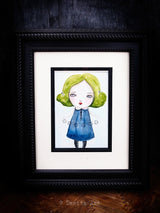 This surreal girl is holding time in her hands on an original watercolor painting by Danita Art