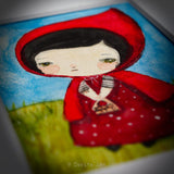 Little Red Riding Hood, an Original Watercolor ACEO Card Study