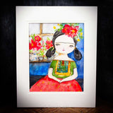 Frida sitting in the blue house, Original Art by Danita Art