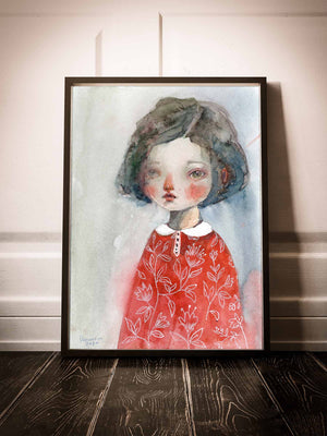 Girl with red flowers watercolor painting. Did you miss you favorite Idania Salcido Danita painting? Or maybe you are looking for something beautiful to fill a frame or hang on a wall and the original is no longer available? You can get it as a print from my shop! Printed on matte paper, each print is ready to be placed in your favorite frame.