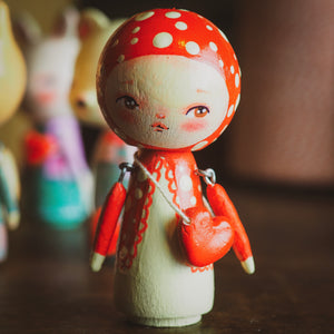 MISHA - An original handmade wooden kokeshi art doll by Danita, Miniature Dolls by Danita Art