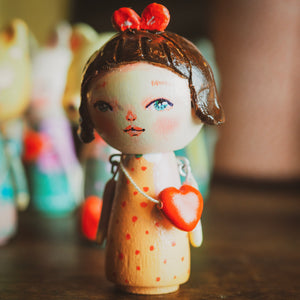 MAGALIE - An original handmade wooden kokeshi art doll by Danita, Miniature Dolls by Danita Art
