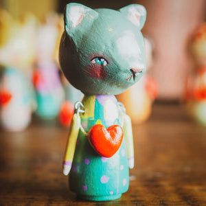 NEKO - An original handmade wooden kokeshi art doll by Danita, Miniature Dolls by Danita Art