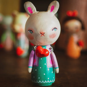 KUMIKO - An original handmade wooden kokeshi art doll by Danita, Miniature Dolls by Danita Art