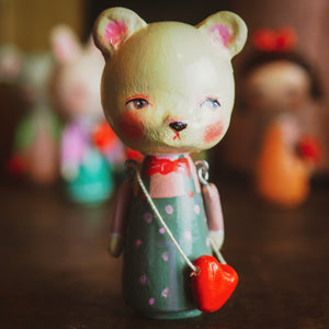 URSA - An original handmade wooden kokeshi art doll by Danita
