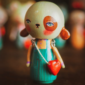 PUGBERTA - An original handmade wooden kokeshi art doll by Danita