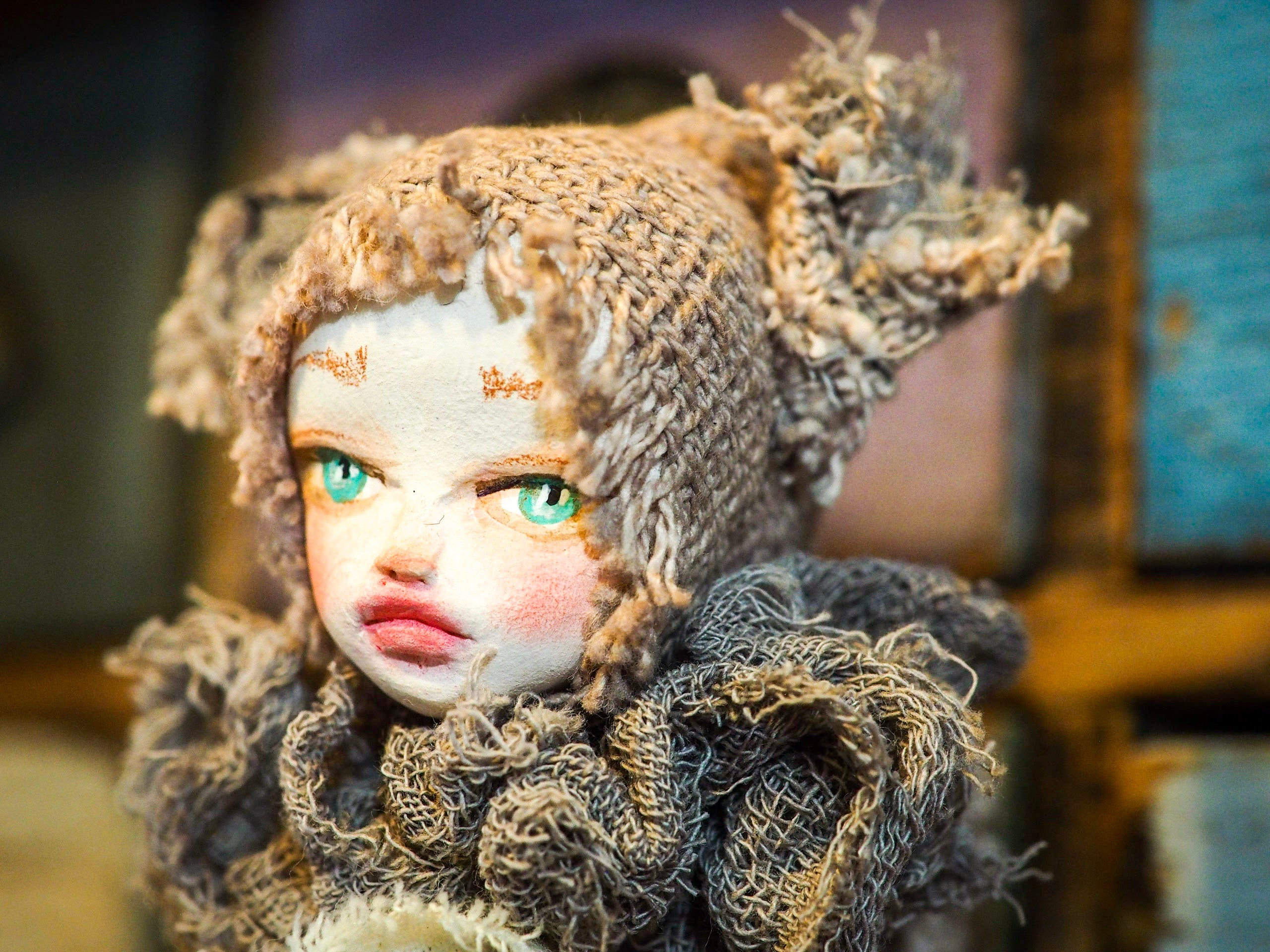 THE SQUIRREL - An original handmade doll by Danita Art, made with original patterns, organic fabric dyed using only natural ingredients like avocado peels, walnuts and marigolds. Each mini art doll in this toy collection is a mini work of huggable fabric art to be treasured by any collector of Danita's melancholic and fantastic work.