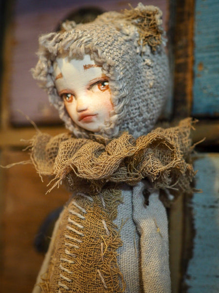 THE BEAR - An original handmade doll by Danita Art, made with original patterns, organic fabric dyed using only natural ingredients like avocado peels, walnuts and marigolds. Each mini art doll in this toy collection is a mini work of huggable fabric art to be treasured by any collector of Danita's melancholic and fantastic work.