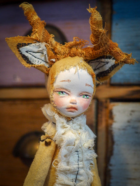 THE DEER - An original handmade doll by Danita Art, made with original patterns, organic fabric dyed using only natural ingredients like avocado peels, walnuts and marigolds. Each mini art doll in this toy collection is a mini work of huggable fabric art to be treasured by any collector of Danita's melancholic and fantastic work.