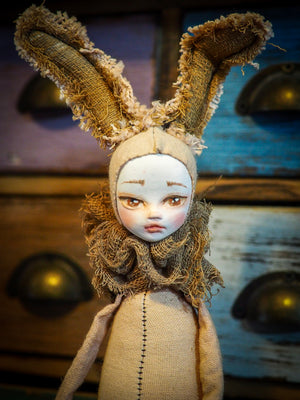 THE BUNNY - An original woodlands handmade art doll by Danita Art