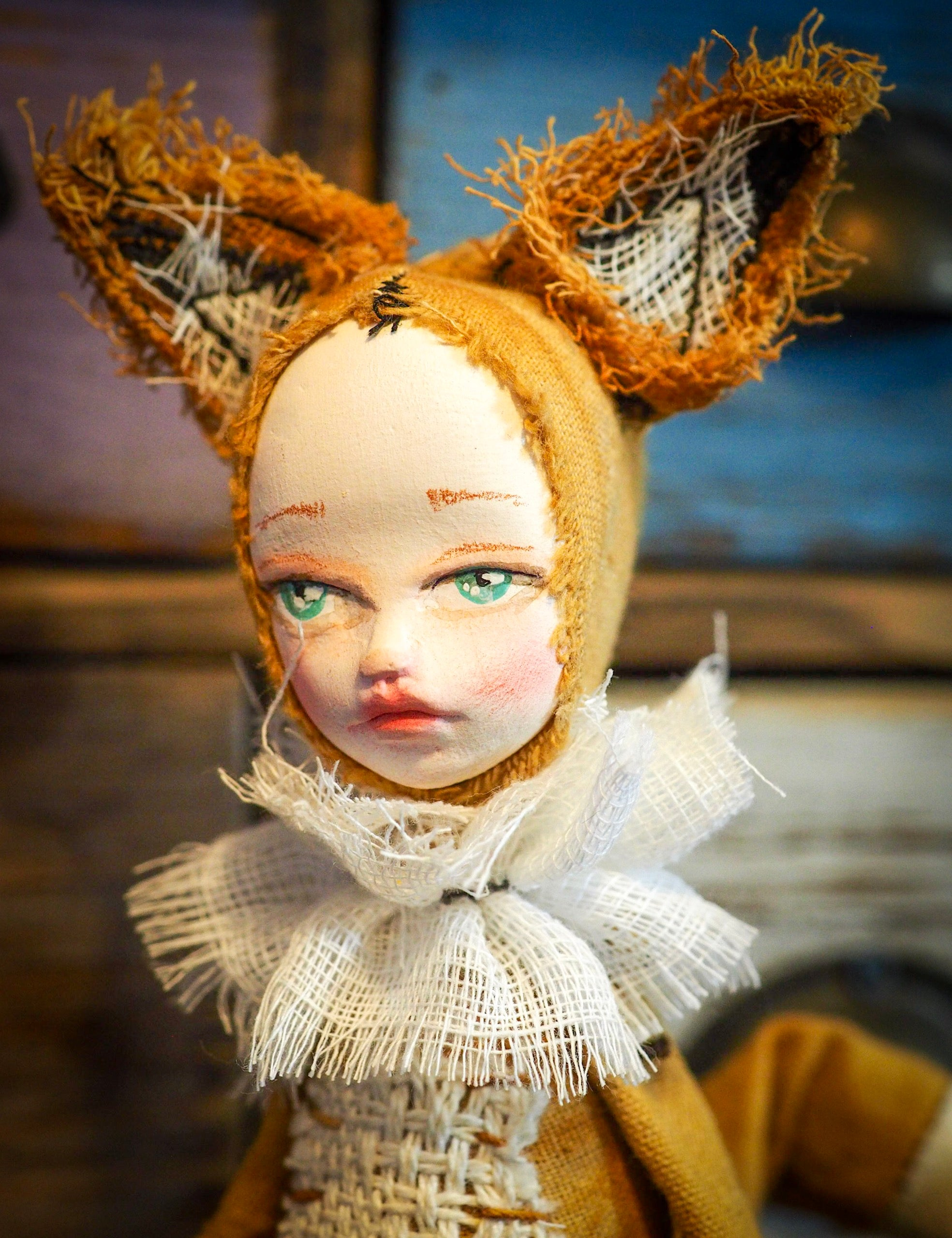 THE FOX - An original handmade doll by Danita Art, made with original patterns, organic fabric dyed using only natural ingredients like avocado peels, walnuts and marigolds. Each mini art doll in this toy collection is a mini work of huggable fabric art to be treasured by any collector of Danita's melancholic and fantastic work.