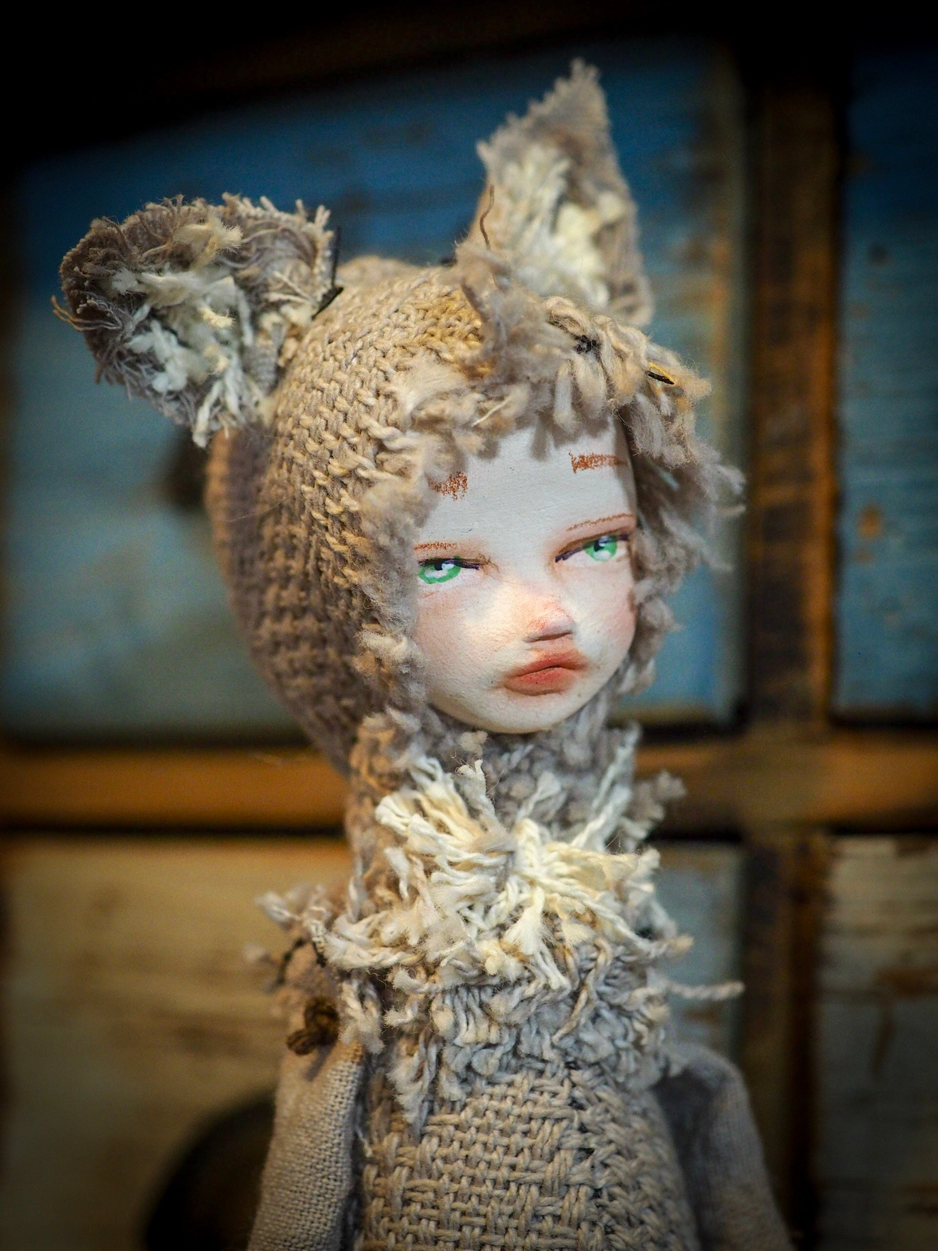 THE WOLF - An original handmade doll by Danita Art, made with original patterns, organic fabric dyed using only natural ingredients like avocado peels, walnuts and marigolds. Each mini art doll in this toy collection is a mini work of huggable fabric art to be treasured by any collector of Danita's melancholic and fantastic work.