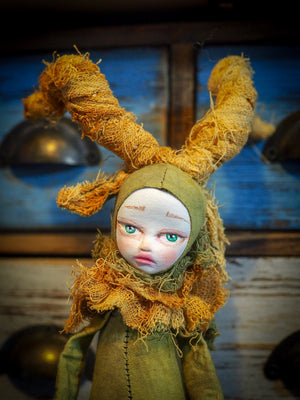 THE FAUN - An original handmade doll by Danita Art, made with original patterns, organic fabric dyed using only natural ingredients like avocado peels, walnuts and marigolds. Each mini art doll in this toy collection is a mini work of huggable fabric art to be treasured by any collector of Danita's melancholic and fantastic work.