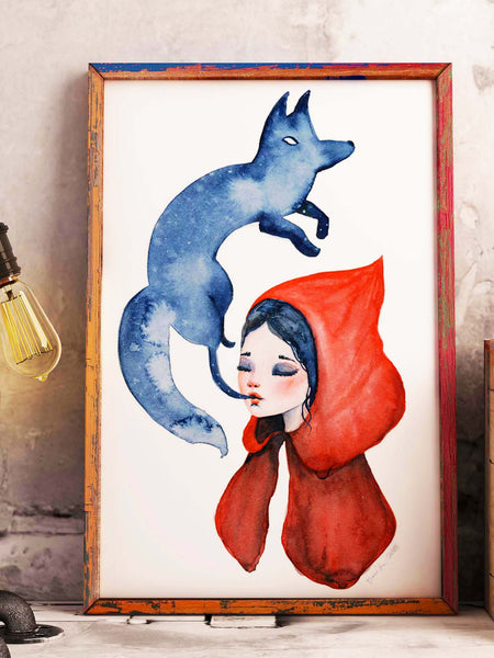 Little red riding hood takes a new sensual and erotic meaning on this watercolor original by Danita. Who is control of who?