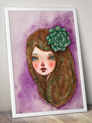SUCCULENT GIRL - Spring garden inspired watercolor original by Danita, Art Prints by Danita Art