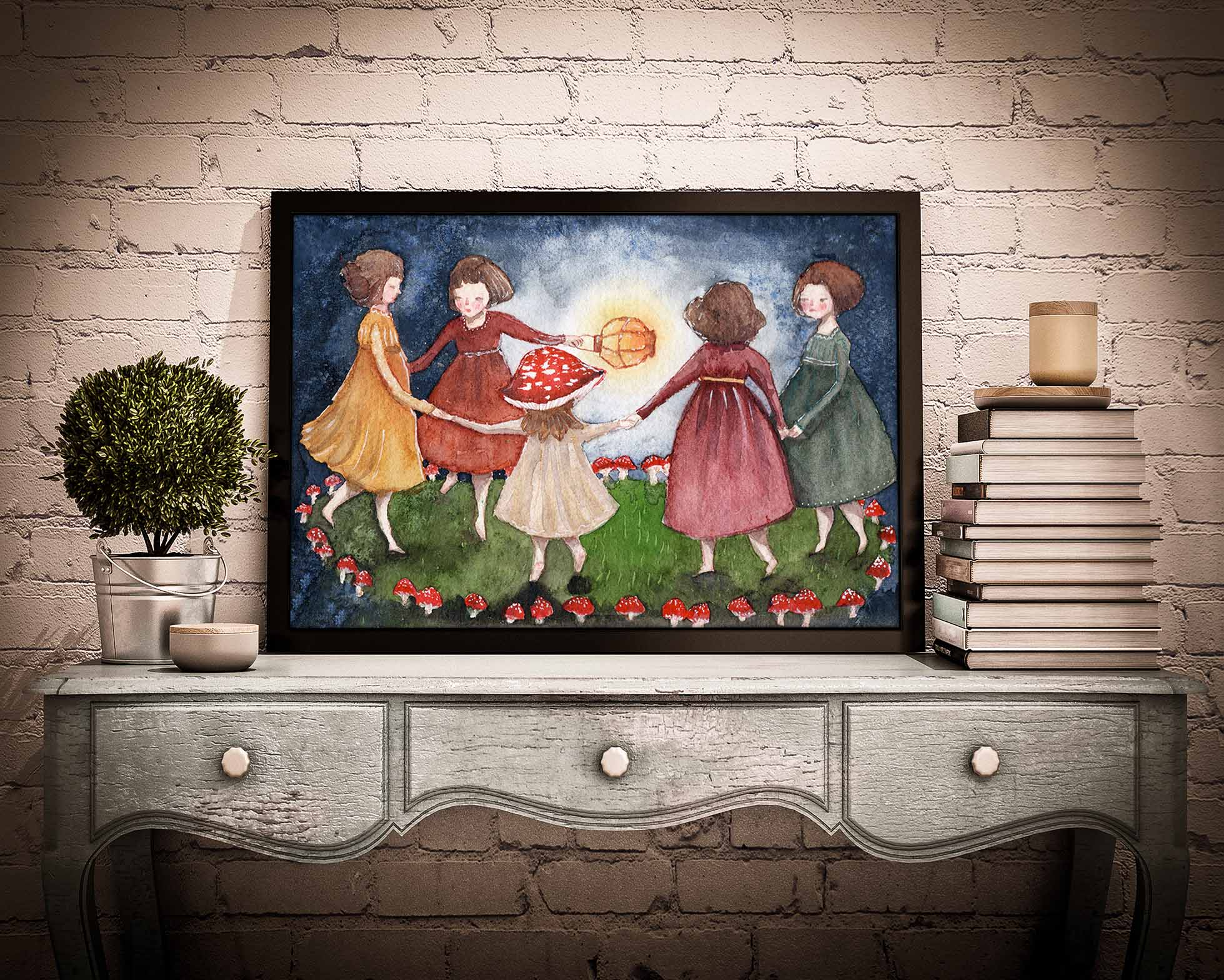 Original reproduction from watercolor painting by Idania Salcido Danita Art. Five girls dance enchanted by the forest midnight with a lantern, as they dance in a fairy mushroom and toadstool fairy ring.