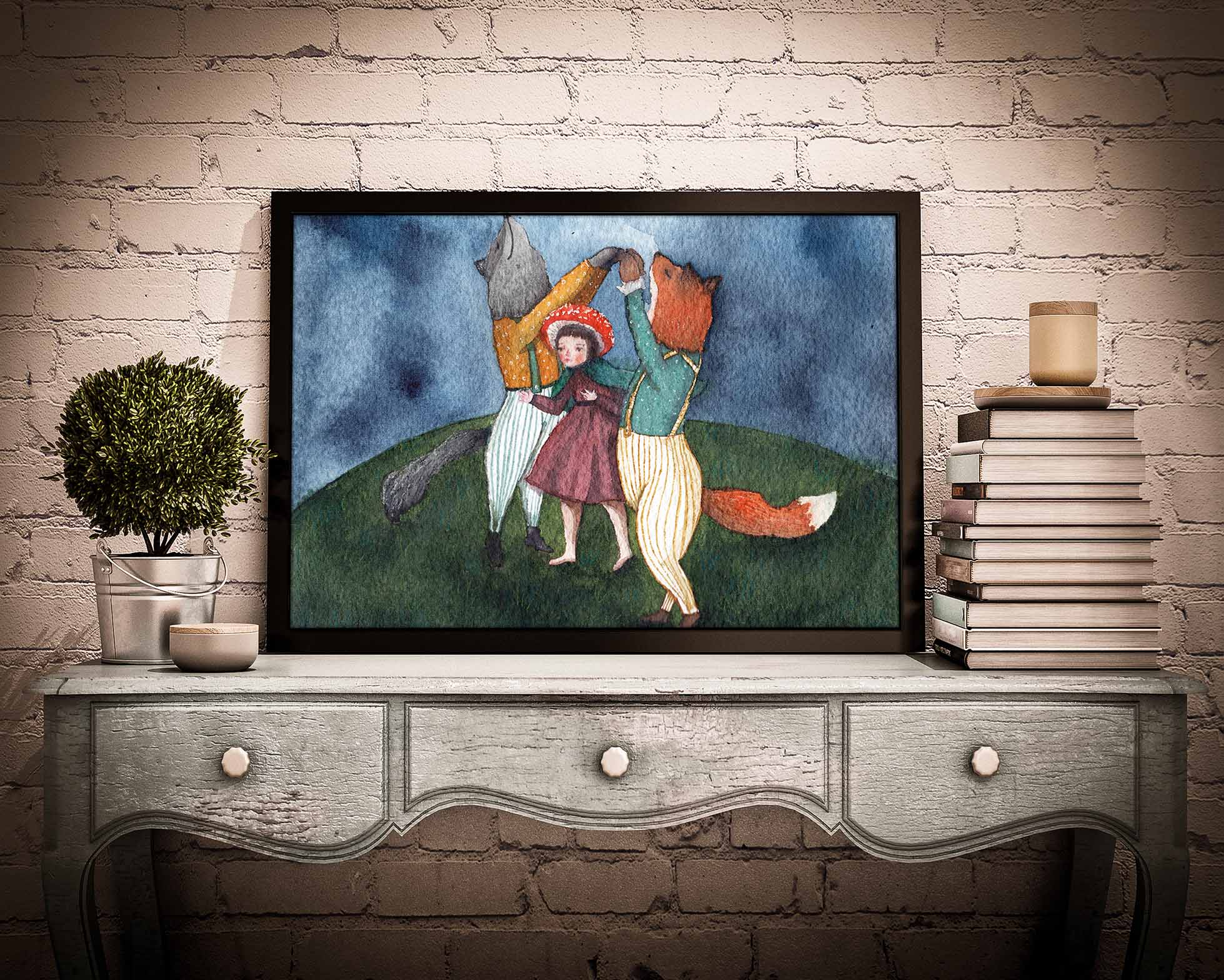 An original watercolor painting by Idania Salcido in a poster wall art. A fox, a wolf and a girl dance together in a meadow at midnight at the magical forest.